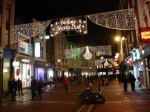 "The holiday lights on Grafton Street went on earlier in the week. This translated is something like ""Happy Christmas to you"""